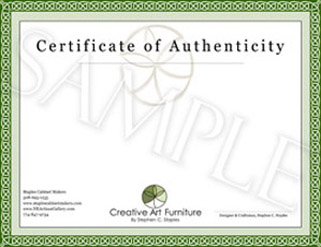 staples cabinet makers certificate of authenticity