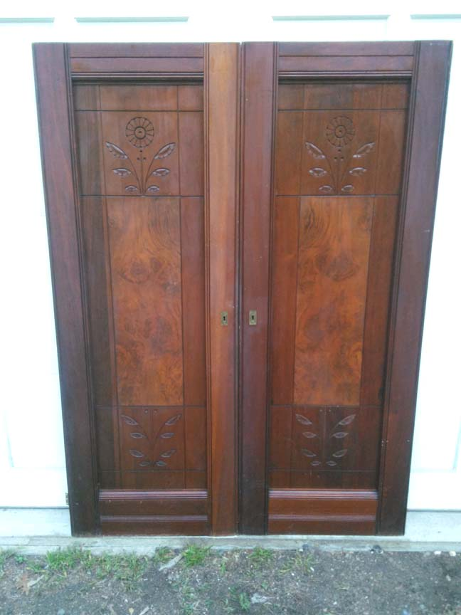 114 pair of Vintage Victorial Walnut Armoire Doors - $395