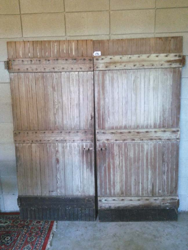 186 Pair of Vintage Bead Board Batten Door - $450
