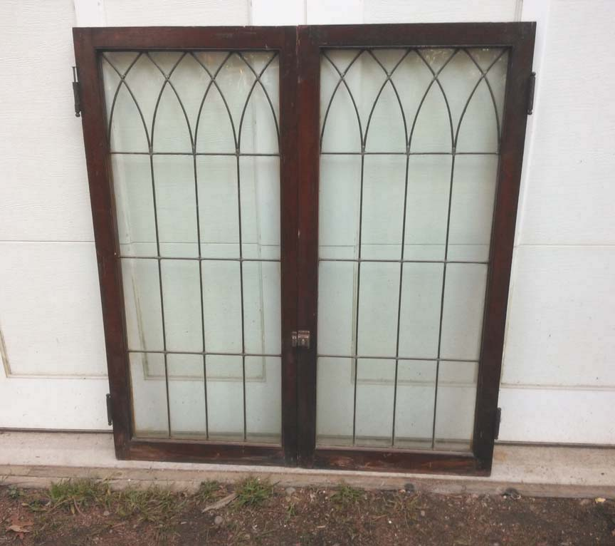 206 Vintage Leaded Glass Cabinet Doors - $105 pair
