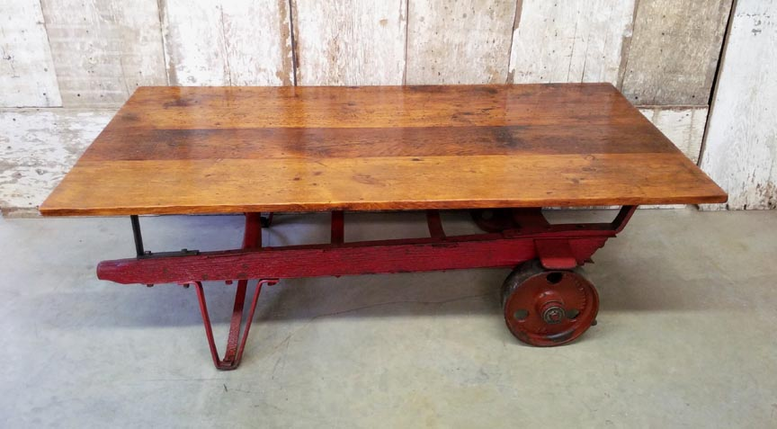 CT 46 Antique Chestnut Handtruck Base With Antique Pine Top Coffee Table