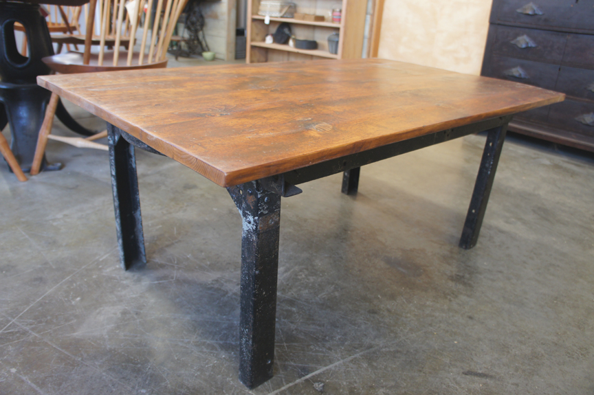 Ct 43 Coffee Table With Industrial Metal Angle Iron Legs