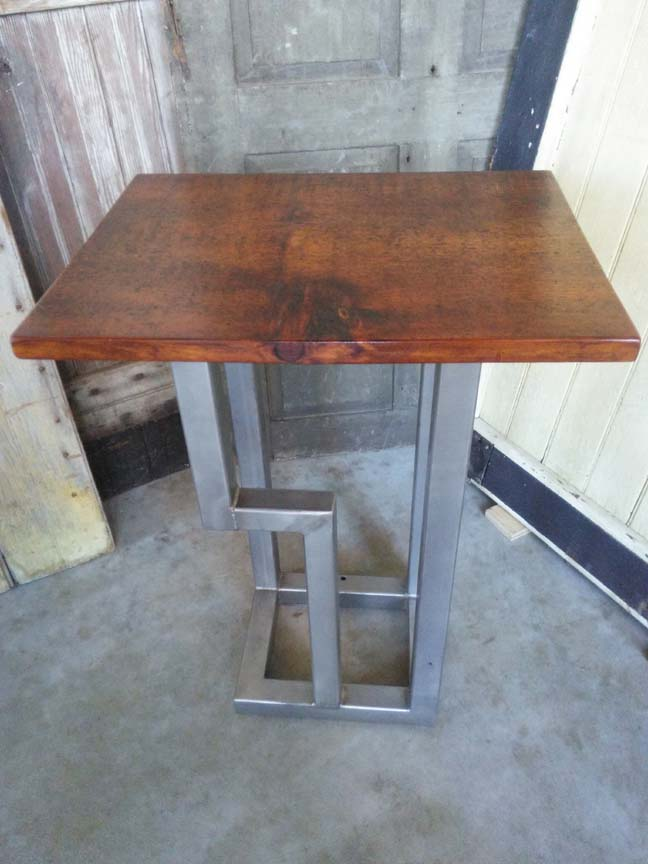 ET-72 RUSTIC END TABLE WITH STAINLESS STEEL BASE