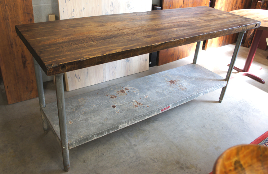 IS-46 BUTCHER BLOCK TOP AND GALVANIZED METAL ISLAND ~ $1995