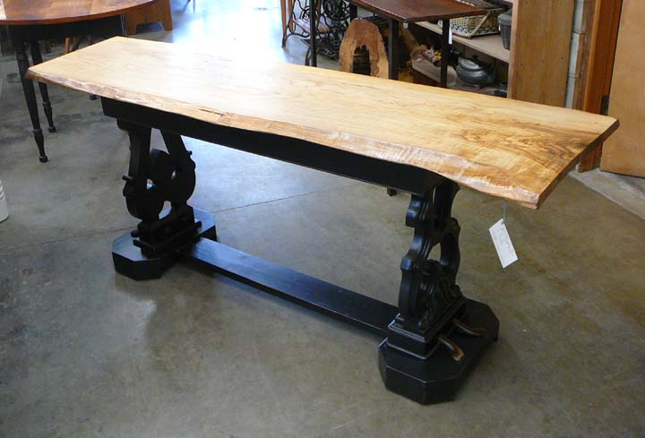 SP-76 Live Edge Ash Top with Piano Lyre Trestle Base Table