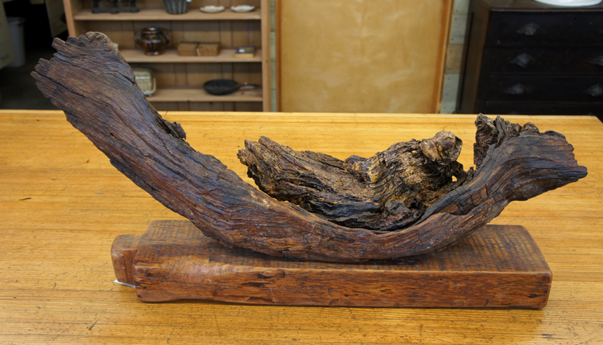 #SSA-0415 Twisted Hickory Root Sculpture on Antique Beam