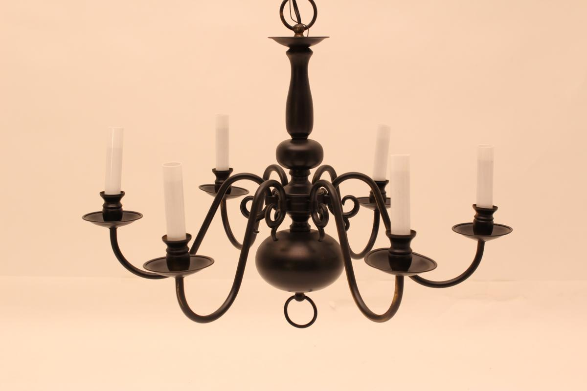 #LT-12 Black over Brass Chandelier ~ $70