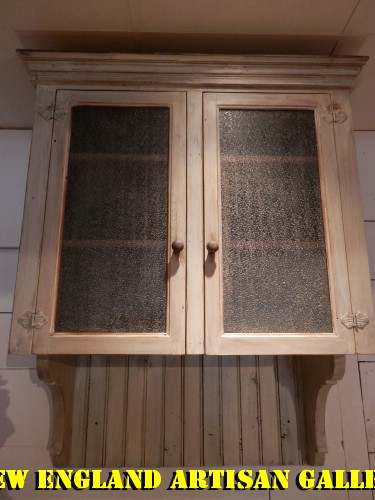 #CB-17 Bead Board Wall Cabinet w/2 Antique Bubble Glass Front Doors ~ $1295